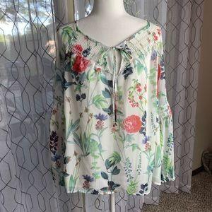 Tommy Hilfiger Floral Front Tie Blouse XL